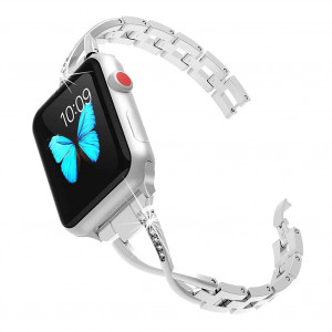 Le tide Compatible for Apple Watch Band Stunning Brushed Stainless Steel Watch Band Strap Bracelet Wrist Watch Band Replacement Mesh Metal Strap Interlock Safety Clasp (42mm)