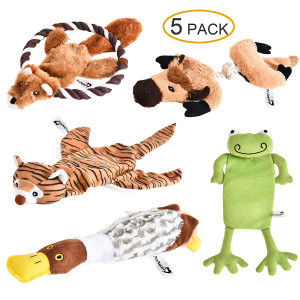 PetAmenity 5 Pack Premium Plush Dog Toys, Crinkle and Squeaky, Stuffingless and Low Stuffing, Irresistible and Tough Dog Chew Toys for Small, Medium, Large Dogs