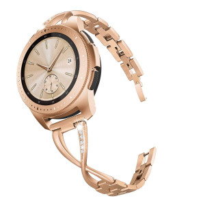 V-MORO Jewelry Bangle Compatible with Galaxy Watch 42mm Bands Rose Gold Women 20mm Bling Metal Stainless Steel Replacement for Samsung Galaxy Watch 42mm R810/Galaxy Watch Active 40mm R500 Smartwatch