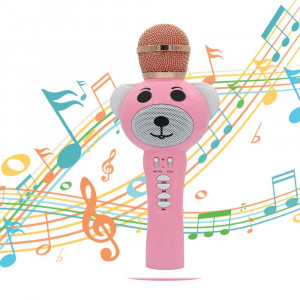 Rechargeable Wireless Microphone, Bluetooth 4.2 Karaoke Machine, KTV Party Microphone Kids Toys, Portable Handheld Mic Speaker Machine for Kids Children Girls, Compatible with Android/IOS/PC (Pink)