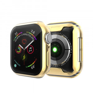 YUANHOT Compatible for Apple Watch Series 4 Screen Protector Case, Soft Clear TPU Screen Protector All-Around Cover iwatch 4 40/44mm (Gold, 44)