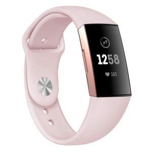 Compatible Fitbit Charge 3 Band Strap,Silicone Breathable Adjustable Replacement Sport Strap Accessory Band Fitbit Charge 3 Smartwatch Fitness Wristband Women Men (Sand Pink, Large)