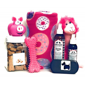 Wolfe and Sparky's Deluxe Pink Dog Gift Set Includes a Classy Dog Blanket, 2 Bottles of Wolfe and Sparky Natural Grooming Products, Healthy Peanut Butter Dog Treats, 2 Toys and a Wooden Brush!!!
