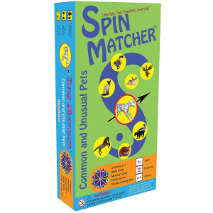 Spin Matcher - Common and Unusual Pets 4-in-1 Word and Memory Educational Family Board Game by SmartCreo