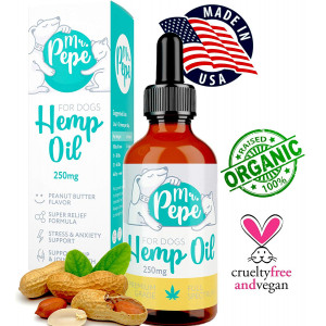 Mr. PePe Full Spectrum Hemp Oil for Dogs Peanut Butter Flavor 250mg - Natural and Organic Pain Relief, Stress and Anxiety Support, Calming Treats, Hip and Joint Health - High in Omega 3,6,9  Made in USA