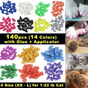 VICTHY 140pcs Cat Nail Caps, Colorful Pet Cat Soft Claws Nail Covers for Cat Claws with Glue and Applicators
