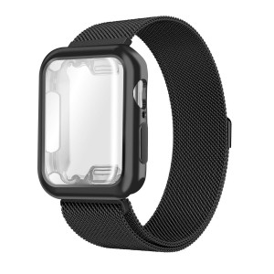 Compatible with Apple Watch Band with Case Series 4 44mm, Ultra-Thin Protective Soft Bumper Case with Milanese Loop Sport Wristband Magnetic Closure Replacement for New iwatch Series 4 44mm, Black