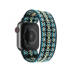 Tefeca Orchid Embroidery Pattern Elastic Compatible/Replacement Band for Apple Watch 38mm 40mm 42mm 44mm (Black Adapter for 38mm/40mm Apple Watch, Wrist Size : 6.0-6.4 inch (L2))