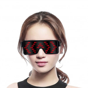 Fancy LED Light up Glasses, USB RechargeableandWireless with Flashing LED Display, can Work 6 Hours, Have 8 Dynamic Patterns, Glowing Luminous Glasses for Christmas,Party,Bars,Rave,Festival,etc. (Red)