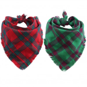 KZHAREEN 2 Pack Dog Bandana Plaid Reversible Triangle Bibs Scarf Accessories for Dogs Cats Pets Animals