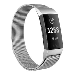 Milanese Bands for Fitbit Charge 3, SailFar Magnetic Clasp Mesh Loop Milanese Stainless Steel Metal Bracelet Strap/Watch Band for Fitbit Charge 3,Small/Large, Men/Women, Small, Silver