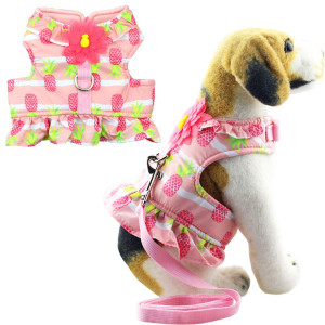 Bolbove Soft Pet Lovely Pineapple Vest Harness and Leash Set for Cats Small Dogs