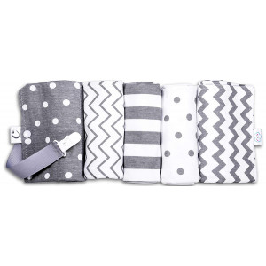 "CuddleBug Baby Burp Clothes, Grey and White (Spots and Stripes) - Pack of 5-16"" x 13"" - Extra Absorbent 100% Organic Cotton Burp Cloths"