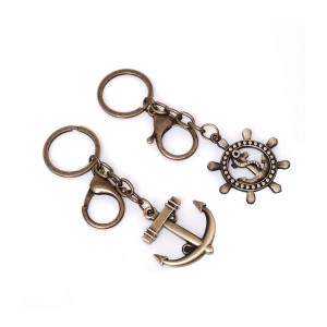 Pack of 2 Anchor and Steerwheel Antique Brass Couple Keychain Decorations Pendant Charms for jewelry making supplies