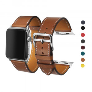 CAILIN Compatible Bands Replacement for Apple Watch 38mm Series 1 Series 2 Series 3,Luxury Genuine Leather Smart Watch Band Strap Single Tour Replacement 38mm (Fauve)