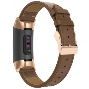 Mostof Leather Band Compatible Fitbit Charge 3 Bands, Retro Breathable Adjustable Fitbit Charge 3 SE and Charge 3 Replacement Genuine Leather Bands Straps Wristband for Women Men (Brown)