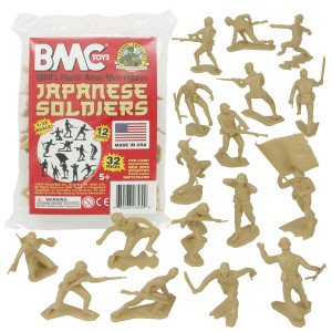 BMC Classic Marx Japanese Plastic Army Men - 32pc WW2 Soldier Figures Made in USA