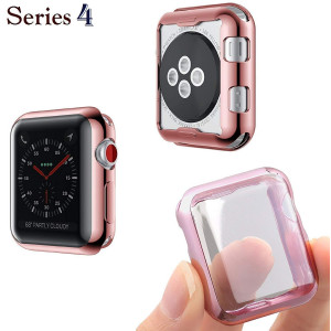 Josi Minea iWatch 4 [44mm] Protective Snap-On Case with Built-in Screen Protector - Anti-Scratch and Shockproof Ultra Thin Cover HD Clear Shield compatible with Apple Watch Series 4 [ 44mm - Rose Gold ]