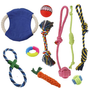 KONKY Dog Rope Toys, Dog Toys Gift Set, 10 Pack Dog Toys Aggressive Chewers, Dog Chew Toys, Washable, Nearly Indestructible, 100% Natural Cotton Dog Toy Set, Teething Toy Small and Medium Dogs10Pack