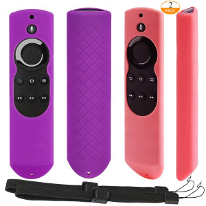 [2 Pack] Anti-slip and Dust-proof Silicone Protective Cover Skin for Fire TV with 4K Alexa Voice Remote (2017 Edition) (2nd Gen) / Fire TV Stick Alexa Voice Remote 5.9inch (Purple + Pink)
