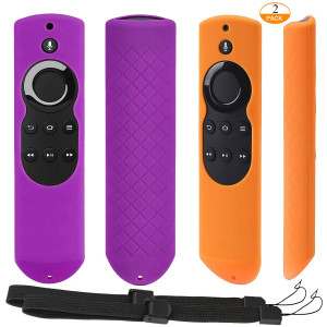 [2 Pack] Anti-slip and Dust-proof Silicone Remote Cover with Lanyard for Fire TV with 4K Alexa Voice Remote (2017 Edition) (2nd Gen) / Fire TV Stick Alexa Voice Remote (Purple + Orange)