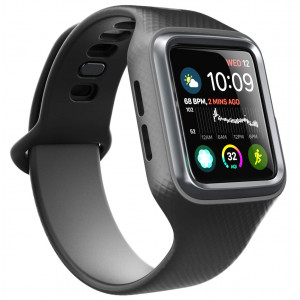 Clayco Apple Watch 4 Band 44mm 2018, [Hera Series] [Updated Version] Shock Resistant Ultra Slim Protective Bumper Case with Strap Bands for 44mm Apple Watch Series 4 (Black)