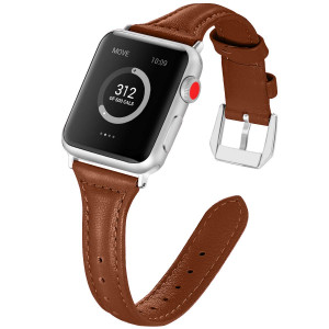 EXCHAR Compatible for Leather Apple Watch Band 38mm 40mm, Women Replacement Bands for iWatch Series 4, Series 3, Elegant Feminine Look, Supple Comfortable Material, Delicate Design Brown
