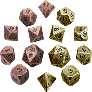 Jovitec 14 Pieces Metal Solid Zinc Alloy Game DandD Dices Set Durable Polyhedral Dice with Printed Numbers and Velvet Storage Bags for Game, Dungeons and Dragons, RPG, Math Teaching (C)