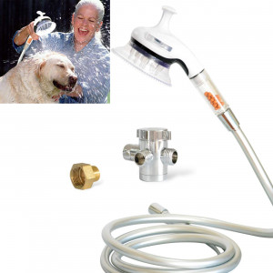 CandW Dog Massage Shower Sprayer Hose and attachments for Indoor and Outdoor Use