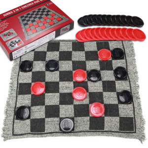 Giant Checkers and Super Tic Tac Toe Game Rug for Kids, Boys, and Girls, 1214 Inches 3 in 1 Reversible Jumbo Floor Mat with Huge Pieces and Free Storage Bag, Best for Fun Party and Gift for Birthdays