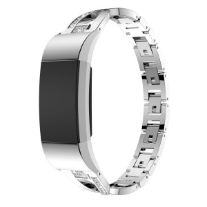 Aiiko for Fitbit Charge 2 Bands - X-Link Fashion Design Stainless Steel Metal Replacement Smart Watch Band Link Bracelet with Crystal Rhinestone Diamond Bling for Fitbit Charge 2, Silver