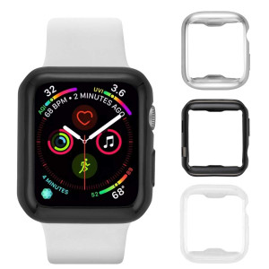 Tranesca Apple Watch case with Screen Protector for 40mm Apple Watch Series 4; 3 Pack (Clear+Sliver+Black) Does not fit Apple Watch 1,2,3