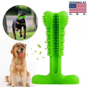 TUOU Dog Toothbrush Silicone Dental Care Toothbrush Stick STB001 FDA Certificate, Healthy Bone-Shape Chew Toys Teeth Clean for Puppy and Middle Dogs