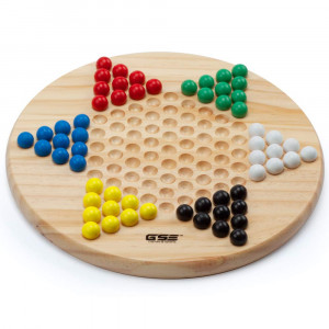 Wooden Chinese Checker Board Game with Wood Marbles