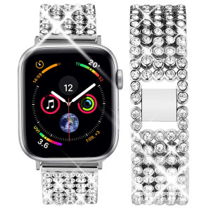 Goton Jewelry Band Compatible with Apple Watch Band 44mm 42mm, Women Rhinestone Beads Link Crystal Bling Stainless Steel Replacement Strap for iWatch Band Series 4 3 2 1 (Silver, 44/42mm)