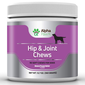 Alpha Paw Glucosamine for Dogs, Hip and Joint Support for Dogs with Glucosamine + Chondroitin + Turmeric + MSM + Collagen - Arthritis Pain Relief, Anti-Inflammation - 360 gm Approx. 90 Soft Chews