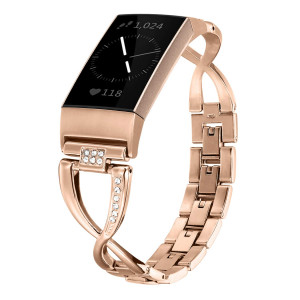 Shangpule Metal Bands Compatible for Fitbit Charge 3 and Charge 3 SE, Replacement Strap with Bling Rhinestone Bracelet Accessories Dressy Wristband Women Men Small Large(Rose Gold)