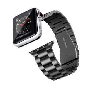 Compatible with Apple Watch Band 42mm 44mm, Apple Watch Band Stainless Steel with Metal Clasp Replacement Apple Watch Series 4/3/2/1(Black)