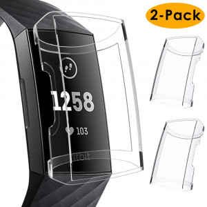 KIMILAR Compatible Fitbit Charge 3 Screen Protector Case, 2 Pack Soft Slim Ultra Clear Protective Case Cover Bumper Silicone Case for Fitbit Charge 3 Smartwatch (Clear)