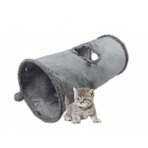 Leerking Collapsible Cat Tunnel, 1/2 Window Cat Play Tube Toy for Large Cats with Scratching Ball Crinkle Paper, Grey
