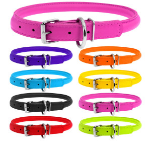 WAUDOG Rolled Leather Dog Collar - Round Dog Collars for Small Medium Large Dogs Thin Dog Collar - Glamour Plus