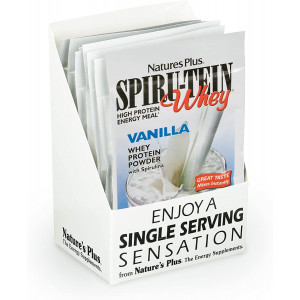 NaturesPlus SPIRU-TEIN Whey Shake - Vanilla - 8 Single Serving Packets, Whey Protein Powder - Meal Replacement With Spirulina, Vitamins and Minerals For Energy - 8 Servings