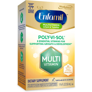 Enfamil Poly-Vi-Sol Liquid Multivitamin Supplement for Infants and Toddlers, 50 mL dropper bottle (Packaging May Vary)