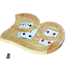 WE Games Mini 29 Cribbage Set - Solid Wood 2 Track Board with Metal Pegs