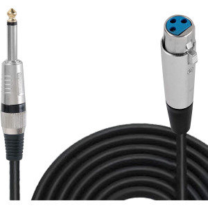 Pyle 30ft. Professional Microphone Cable - 1/4 Inch Male To XLR Female Audio Cord Connector 30 ft Black Heavy Duty Portable Speaker Cable Wire Adapter -Delivers Sound - PPMJL30
