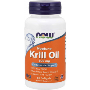 NOW Supplements, Neptune Krill Oil 500 mg, Phospholipid-Bound Omega-3, Cardiovascular Support*, 60 Softgels