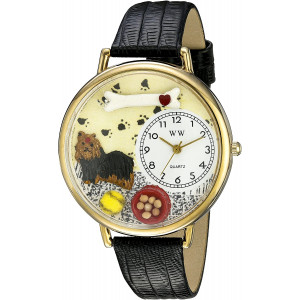 Whimsical Watches Unisex G0130077 Yorkie Black Skin Leather Watch