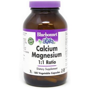 BlueBonnet Calcium Magnesium 1:1 Ratio Vegetarian Capsules, 180 Count, White