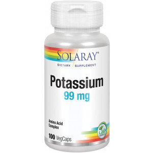 Solaray Potassium 99mg   Fluid and Electrolyte Balance Formula   Heart, Nerve and Muscle Function Support   100ct, 100 Serv.