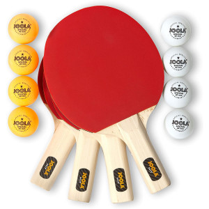 JOOLA Hit Set Bundle - Ping Pong Set for 4 Players - Includes 4 Pack Premium Ping Pong Paddles, 8 Table Tennis Balls, 1 Carrying Case - Each Racket is Designed to Optimize Spin and Control